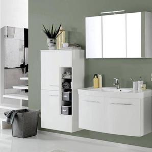Badmöbel Set FLORIDO-03 Hochglanz weiß, Waschtisch mit 2 Türen, LED-Spiegelschrank, B x H x T: ca. 180 x 200 x 47 cm
