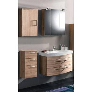 Badmöbel Holz modern Eiche Sonoma Set RIMAO-02 80cm Waschtisch & Spiegelschrank (4 teilig)
