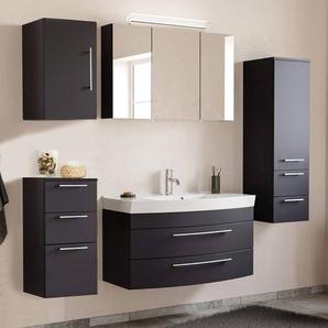 Badmöbel Set MAPUTO-02 in schwarz Seidenglanz mit LED-Spiegelschrank und Mineralguss-Becken BxHxT ca. 201x200x50,2cm