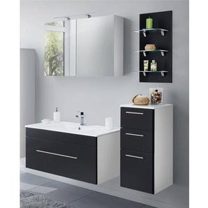 Badmöbel-Set mit 100cm Keramik-Waschtisch LAGOS-02 (4-teilig) Seidenglanz schwarz, B x H x T ca. 150,2 x 195 x 47,5cm