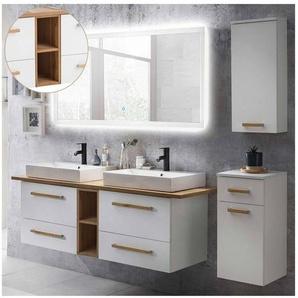 Badmöbel Set mit 165cm Waschtisch & LED-Spiegel DABO-04 weiß mit Eiche Landhaus, B/H/T 210/200/50