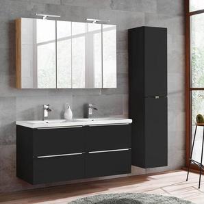Badmöbel Set mit Doppel-Keramik-Waschtisch und 2 Spiegelschränke TOSKANA-BLACK-56 seidenmatt anthrazit BxHxT ca. 175/190/46cm