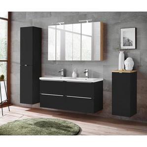 Bad Set mit Doppel-Keramik-Waschtisch und 2 Spiegelschränken TOSKANA-BLACK-56 seidenmatt anthrazit/Wotaneiche BxHxT ca. 230/190/46cm