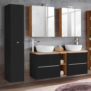 Badmöbel Set mit Doppel-Waschplatz mit Keramik-Aufsatzbecken TOSKANA-BLACK-56 seidenmatt anthrazit/Wotaneiche BxHxT ca. 195/190/48cm