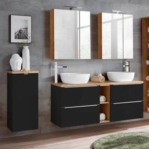 Badmöbel Set mit Doppel-Waschtisch inkl. 2 Keramik-Aufsatzbecken TOSKANA-BLACK-56 seidenmatt anthrazit/Wotaneiche BxHxT ca. 195/190/48cm