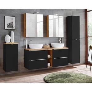 Badmöbel Set mit Doppel-Waschtisch inkl. 2 Keramik-Aufsatzbecken TOSKANA-BLACK-56 seidenmatt anthrazit/Wotaneiche BxHxT ca. 250/190/48cm