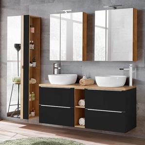 Badmöbel Set mit Doppel-Waschtisch mit 2 Aufsatzbecken und 2 Spiegelschränken TOSKANA-BLACK-56 seidenmatt anthrazit/Wotaneiche BxHxT ca. 205/190/48cm