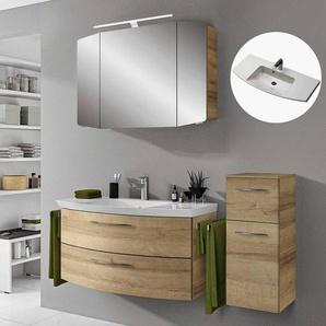 Badmöbel Set mit Waschtisch und LED-Spiegelschrank CERVIA-66 in Riviera Eiche, B/H/T: 148/200/50,5 cm