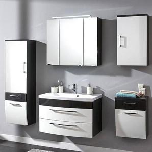 Badmöbel Set RIMAO-02 Hochglanz weiß, anthrazit, 80cm Waschplatz, LED Spiegelschrank (5 teilig), B x H x T ca.: 202 x 190 x 48,5 cm