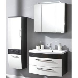 Badmöbel Set RIMAO-02 Hochglanz weiß, anthrazit, 80cm Waschtisch, LED Spiegelschrank (3 teilig), B x H x T ca.: 142 x 190 x 48,5 cm