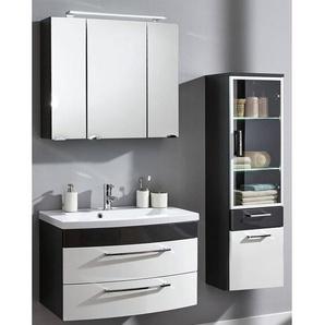 Badmöbel Set RIMAO-02 Hochglanz weiß, anthrazit, 80cm Waschtisch, Spiegelschrank (3 teilig), B x H x T ca.: 142 x 190 x 48,5 cm