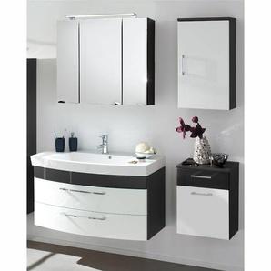 Badmöbel Set RIMAO-100 Hochglanz weiß, anthrazit, Gussbecken, LED Spiegelschrank (4-teilig)