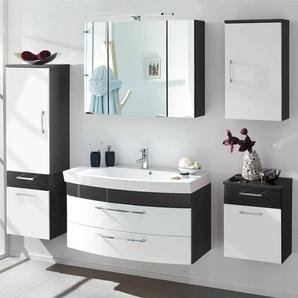 Badmöbel Set RIMAO-100 Hochglanz weiß, anthrazit, Waschplatz mit Gussbecken (5-teilig)