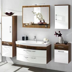 Badmöbel Set RIMAO-100 Hochglanz weiß, Walnuss Nb., 100cm Waschplatz, Spiegel mit Ablage (5-teilig)