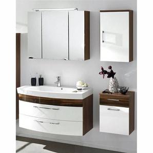 Badmöbel Set RIMAO-100 Hochglanz weiß, Walnuss Nb., Gussbecken, LED Spiegelschrank, B x H x T: ca. 160 x 200 x 57 cm
