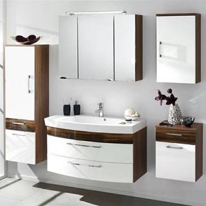 Badmöbel Set RIMAO-100 Hochglanz weiß, Walnuss Nb., Gussbecken, LED Spiegelschrank (5-teilig)
