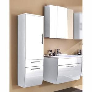 Badmöbel Set TALONA-02 Hochglanz weiß, 70cm Waschtisch, B x H x T: 130 x 200 x 49,5 cm
