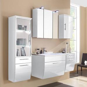 Badmöbel Set TALONA-02 Hochglanz weiß, 70cm Waschtisch, LED Spiegelschrank (5-teilig)