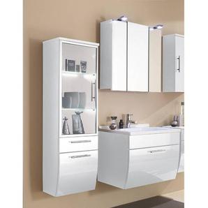 Badmöbel Set TALONA-02 Hochglanz weiß, 70cm Waschtisch, Spiegelschrank (3-teilig)