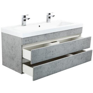 Badmöbel Talis 120 Doppelbadmöbel in Beton mit grifflosen Schubladen