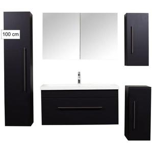 Badmöbel Ultra-Spar-Set Brilliance 1000 schwarz seidenglanz