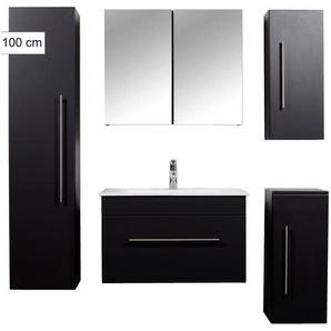 Badmöbel Ultra-Spar-Set Brilliance 750 schwarz seidenglanz