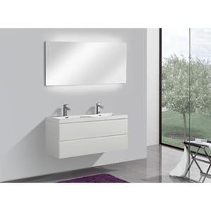 Badmöbel Unterschrank ALGO 120 inkl. Doppelwaschtisch (hochglanz-weiß) - GLASDEALS