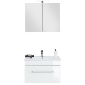 Lomadox - Badmöbel Waschplatz 75cm Keramik Waschtisch und LED-Spiegelschrank Set LAGOS-02 Hochglanz weiß, B x H x T ca. 75 x 195 x 46,3cm