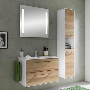Bad Waschplatz & Hochschrank FES-3065-66 Badezimmer Möbel-Set in weiß matt & Riviera Eiche Nb. - B/H/T: 122,2x166,8x44,7cm