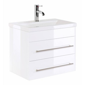 Waschtisch ALISTAIR 600 SlimLine Hochglanz weiß Keramikbecken 60 x 52 x 36 cm