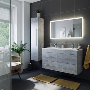 Badmöbelset Helios Beton inkl. LED Spiegel mit Touch-Funktion