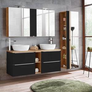 Badmöbelset mit 2 Keramik-Aufsatzwaschbecken und 2 Spiegelschränken TOSKANA-BLACK-56 seidenmatt anthrazit & Wotaneich, BxHxT ca. 205/190/48cm
