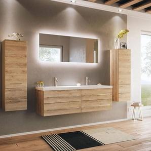 Badmöbelset mit Doppel-Waschtisch, 2 Hochschränke und LED Spiegel MIRAMAR-02 Eiche hell, B/H/T: 240/200/50,5cm