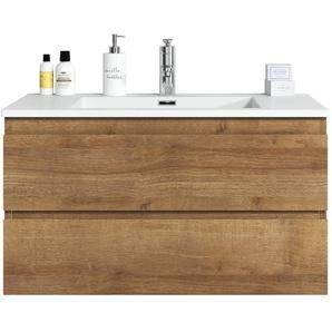 Badplaats - Badezimmer Badmöbel Set Angela 80cm Eiche - Unterschrank Schrank Waschbecken Waschtisch