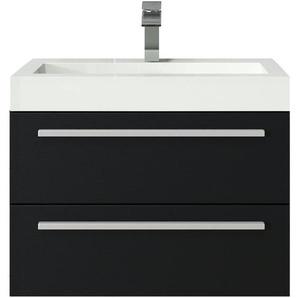 Badezimmer Badmöbel Set Marseille 60cm schwarzes Holz - Unterschrank Schrank Waschbecken Waschtisch - BADPLAATS