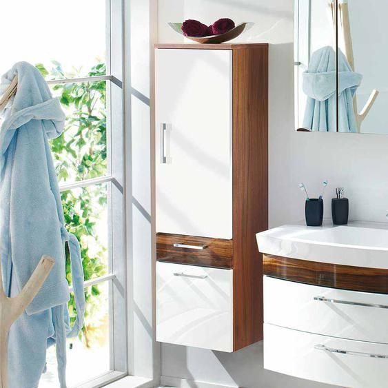 Badschrank in Weiß Hochglanz Walnuss hängend