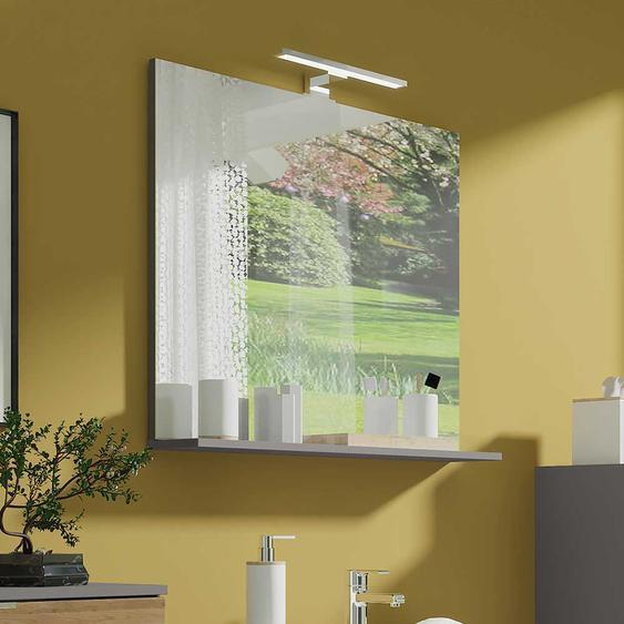 Badspiegel in Dunkelgrau LED Beleuchtung