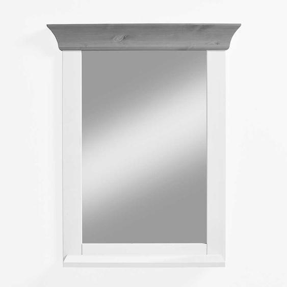 Badspiegel in Weiß und Grau Kiefer massiv 65 cm breit