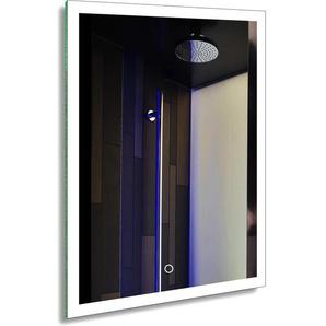 Badspiegel LED Spiegelleuchte 80x60CM Weiß 20W IP44 Wand Spiegel mit Beleuchtung 6000K (Typ3, 60 * 80 CM (3)) [Energieklasse A+] - TONFFI