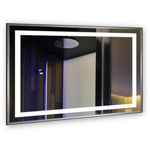 Badspiegel mit beleuchtung 80x60CM 30W LED HD Spiegelleuchte Aluminiumrand IP44 Naturweiß [Energieklasse A+] - TONFFI