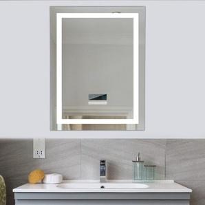 Badspiegel mit Beleuchtung,Badezimmerspiegel mit Beleuchtung, mit Zwei Bluetooth Lautsprecher, Beleuchtete Touch Control Dimmbar 600x800mm - WYCTIN