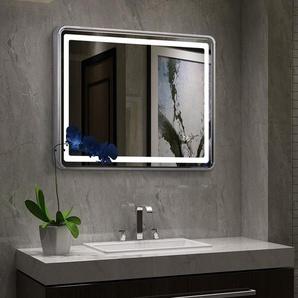 Badspiegel Schminkspiegel Spiegelbeleuchtung Spiegel mit Beleuchtung LED (Aluminium silberne Rahmen, 450 * 800 * 40MM, 20W) - TONFFI