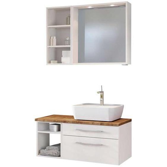 Badspiegel und Waschtisch mit Regal Weiß und Wildeiche Dekor (3-teilig)