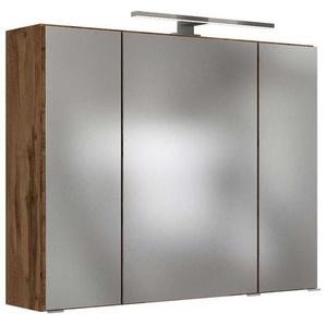 Badspiegelschrank in Wildeichefarben LED Beleuchtung
