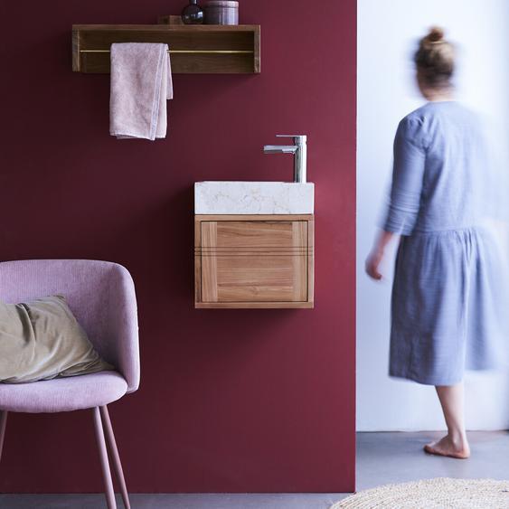Badunterschrank aus Teakholz und Waschbecken aus cremefarbenem Marmor Basic crem