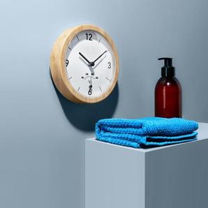 Badwanduhr mit Thermometer - weiß -