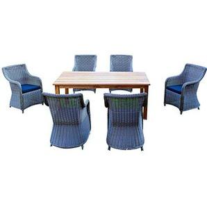 Baidani Gartenmöbel-Sets 10a00015 Designer Rattan Lounge-Set Ambition, 1 Tisch, 6 Stühle, Sitzaufagen, dunkelgrau/grau