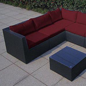 Baidani Rattan Garten Lounge Surprise integrierter Stauraum, Schwarz (Rot)