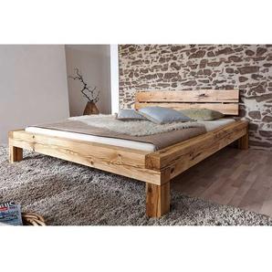 Balken Vollholzbett aus Wildeiche Massivholz rustikalen Landhausstil