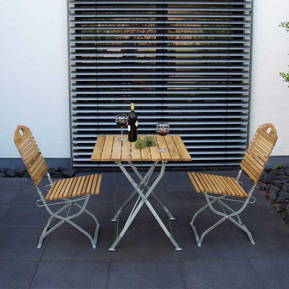Balkon Sitzgruppe aus Robinie Massivholz und Stahl klappbar (3-teilig)
